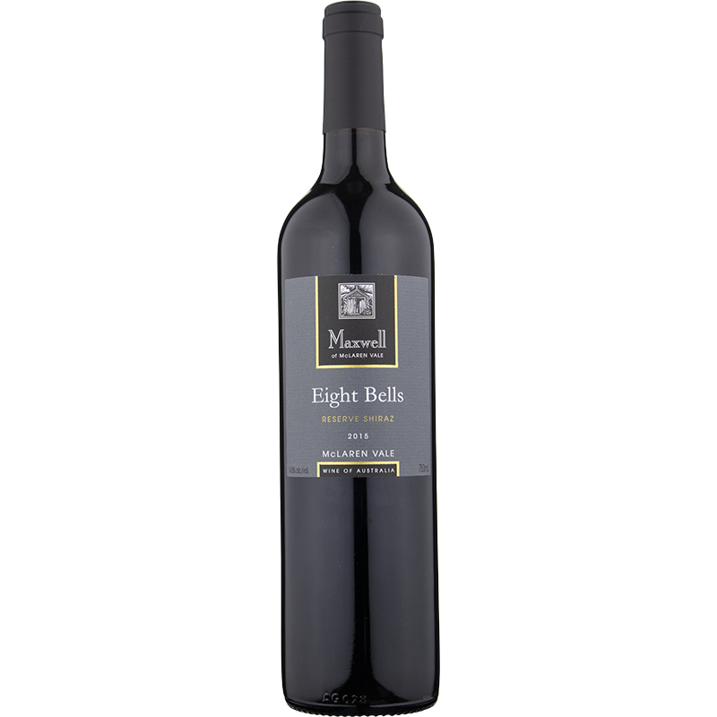 A bottle of 2016 Maxwell Eight Bells Reserve Shiraz wine - ITM36062