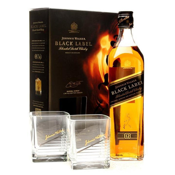 Johnnie Walker Black Label 12 Year Old Scotch Whisky Gift Set - Grain & Vine | Curated Wines, Rare Bourbon and Tequila Collection