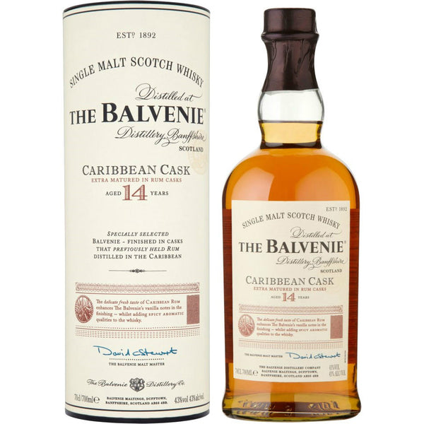 The Balvenie 14 Years Caribbean Cask Single Malt Scotch Whisky - Grain & Vine | Curated Wines, Rare Bourbon and Tequila Collection