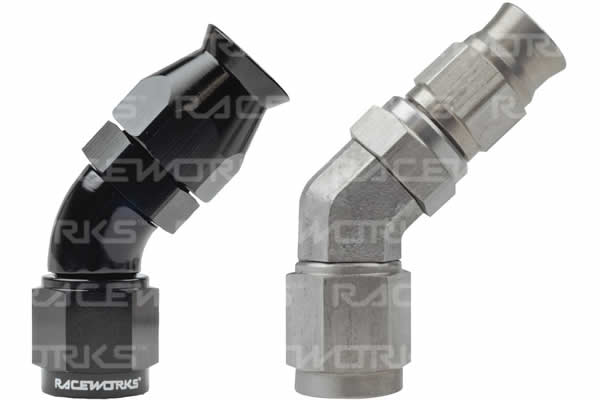 200/220 Series Teflon Braid Hose End Fitting - 45 Degree
