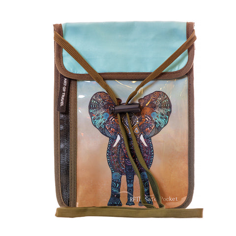 Art of Travel Passport Neck Wallet - Elephant