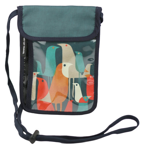 RFID Safe Hidden Travel Passport Neck Wallet by ART OF TRAVEL - Flock of Birds