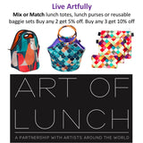 Reusable Sandwich & Snack Baggies by Art of lunch - Set of 3 Designer Sandwich Bags