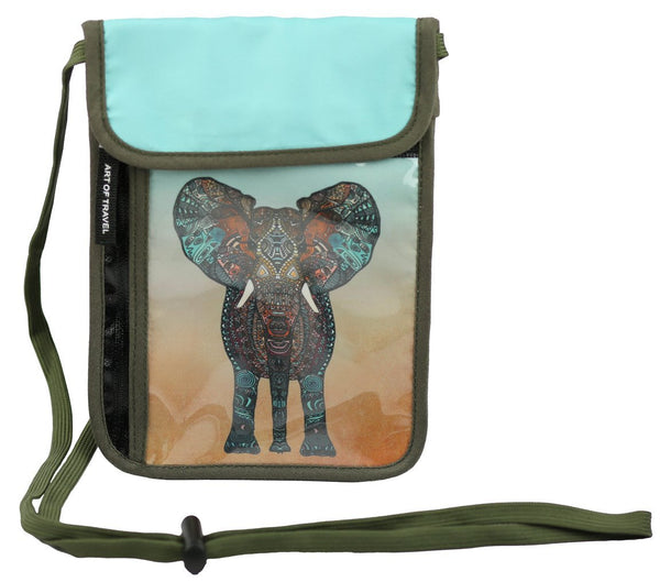 RFID Safe Hidden Travel Passport Neck Wallet -  Elephant