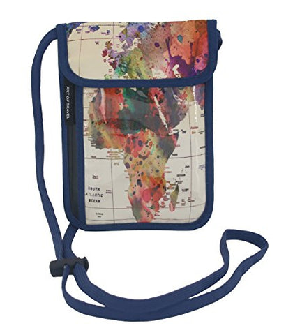 RFID Safe Hidden Travel Passport Neck Wallet - World Map