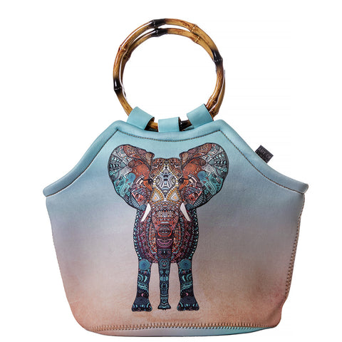 Neoprene Lunch Tote Purse - Elephant