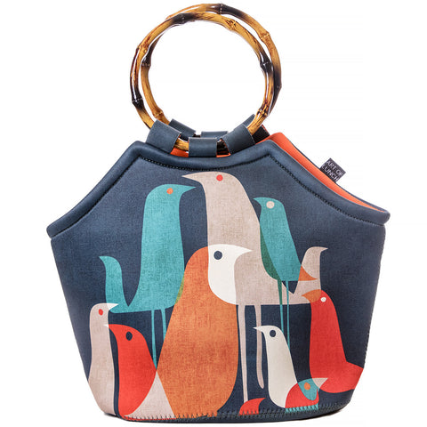 Neoprene Lunch Tote Purse - Flock Of Birds