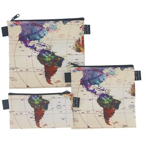 Reusable Sandwich & Snack Baggies by ART OF LUNCH - World Map