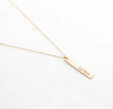 Cat Mom Vertical Bar Necklace - Canine Action Project (CAP) Collection - NBV31x50