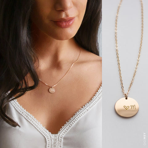 Bridesmaid Engraved Disc Necklace • NDv130-04