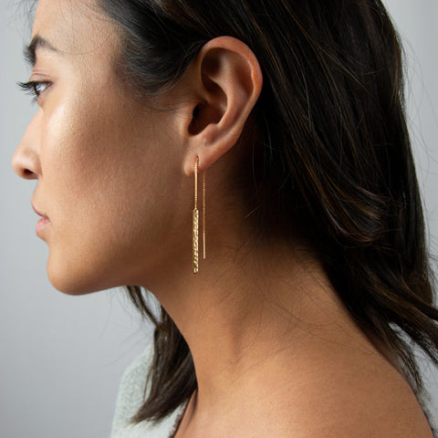 Threader Engraved Bar Earring • ETB30x31