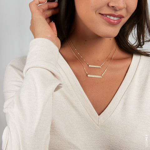 Layered Engraved Bar Necklace • LNS009