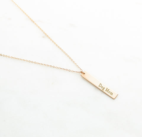 Dog Mom Vertical Bar Necklace - Canine Action Project (CAP) Collection - NBV31x50