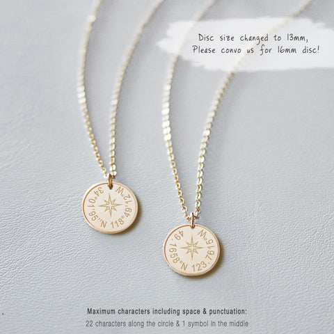 Custom Coordinates Engraved Disc Necklace • NDv13-22