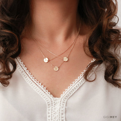 Double or Triple Initial Circle Necklace • NDH9DT8