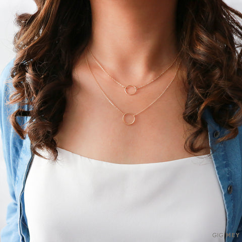 Layered Open Circle Karma Necklace• LNS132