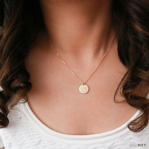 Animal Engraved Disc Necklace • NDv13-01