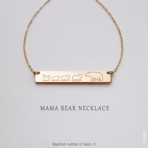 Mama Bear and Cubs Bar Necklace  • NBh40x5