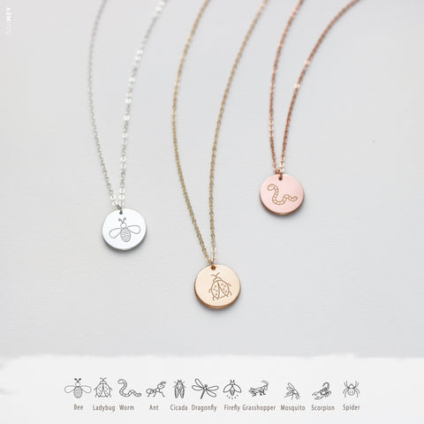 Engraved Bug Disc Necklace • NDv13-05
