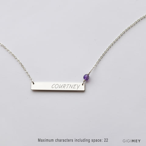 Engraved Bar Necklace with Birthstones •  NBh35x5GEM