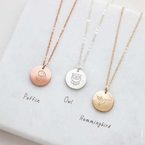 Engraved Bird Disc Necklace • NDv13-03