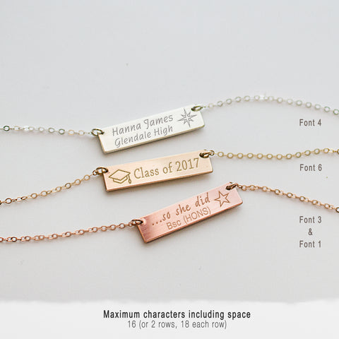 Graduation Necklace • Horizontal Engraved Bar Necklace • NBh25x6-02