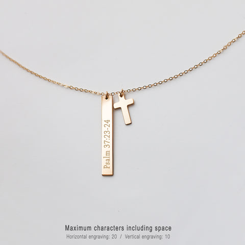 Engraved Bar and Cross Necklace • NBv35x5CRS