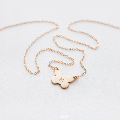 Butterfly Initial Necklace • NBTF141