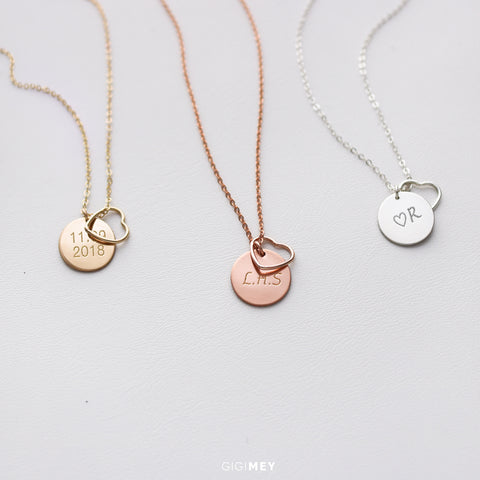 Initial Disc and Wire Heart necklace • NDv13WHT