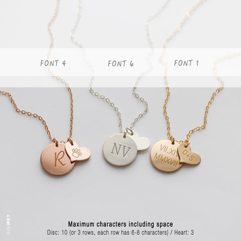 Custom Engraved Disc and Heart Necklace • NDv13HRT