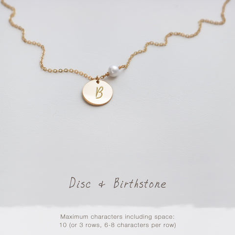 Bridesmaid Gift Engraved Disc and Gemstone Necklace• NDv13GEMl