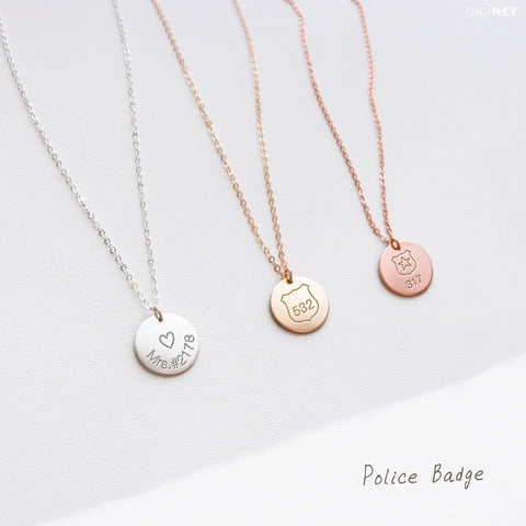 Police Badge Disc Necklace • NDv13-15