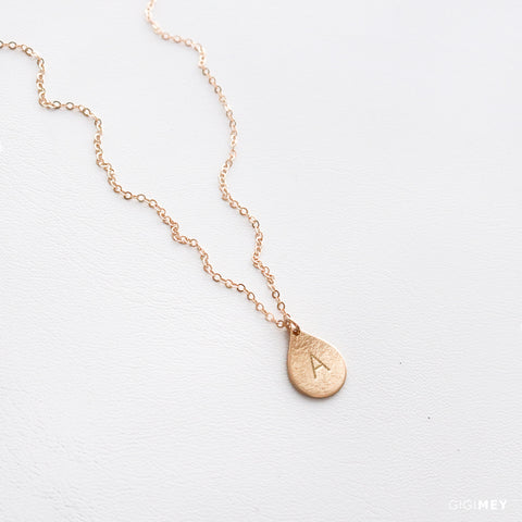 Small Teardrop Initial Necklace • NTV130