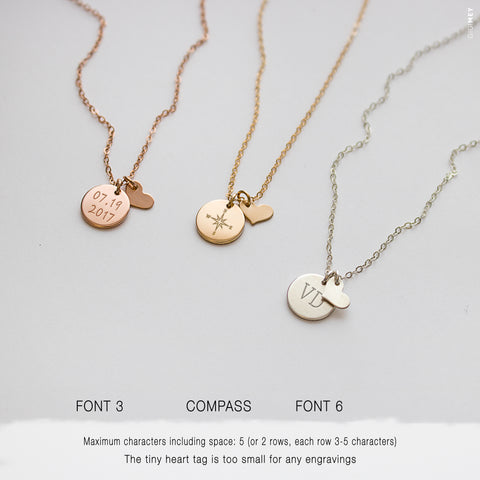 Engraved Small Disc and Heart Necklace  • NDv9HRT