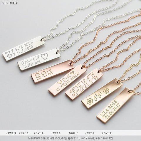 Vertical Bar Necklace 25x6 Millimeters • NBV25x60