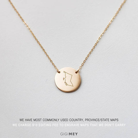 Personalized Map Necklace • NDh16-01
