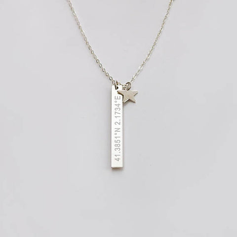 Customizable bar and star necklace • NBV35x4S0