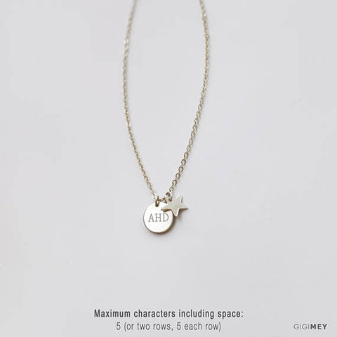 Personalized disc and star necklace • NDV9S0