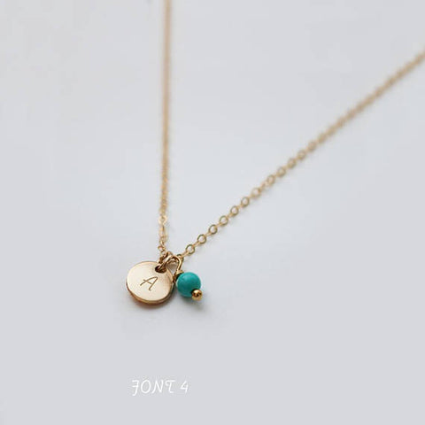 Engraved Tiny Disc and Gemstone Necklace • NDv6GEM