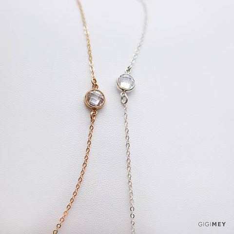 Dainty CZ Circle Necklace • NCZH1