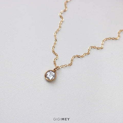 Dainty CZ Circle Necklace • NCZV60