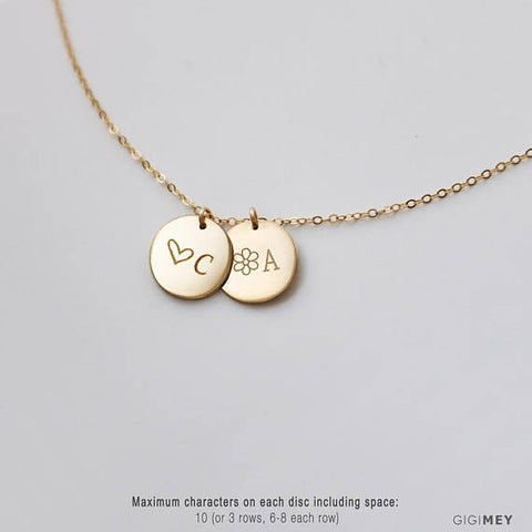 Family Name Engraved Disc Necklace • NDv13m-01