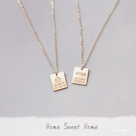 Home Engraved Square Necklace • NBv13x11