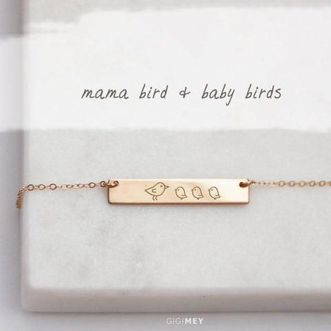 Mama Bird and Baby Birds Necklace • NBh30x5-06