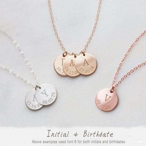 Initial and Birthdate Multi Disc Necklace • NDv13m-02