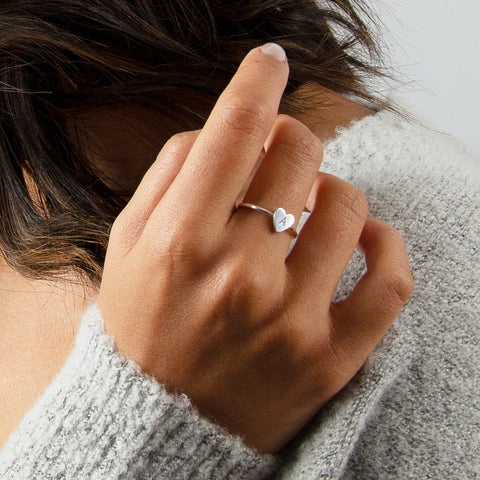 Tiny Heart Initial Ring • RH7