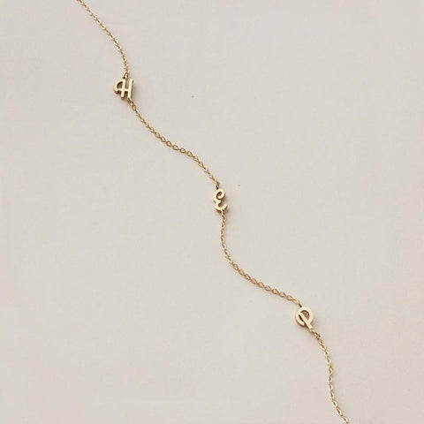 Tiny Sideways Initial Necklace • N015