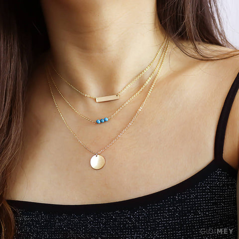 Engraved Disc, Gemstone and Bar Necklace • LNS111