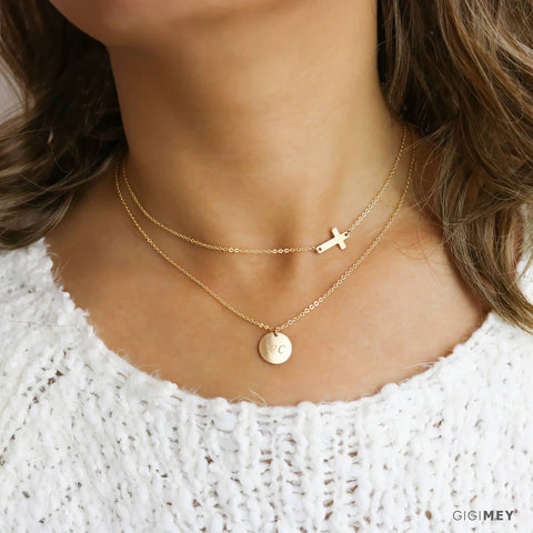 Engraved Disc and Cross Necklace • LNS101