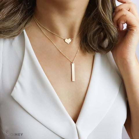 Engraved Heart and Vertical Bar Necklace • LNS061